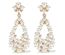 Woman Gold-plated, Faux Pearl And Crystal Earrings Gold