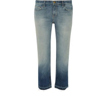 Dégradé distressed cropped straight-leg jeans