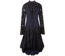 Paneled Embroidered Giupure Lace And Cady Dress Navy Size 0