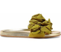 Naia Ruffled Organza-appliquéd Suede And Metallic Leather Slides Chartreuse