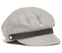 Suede-trimmed Button-embellished Mélange Wool-blend Cap Light Gray  /L