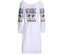 Tasseled ruffle-trimmed embroidered cotton-poplin dress