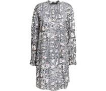 Pleated leopard-print cotton mini dress