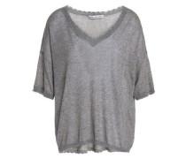 Frayed Mélange Cotton Top Gray