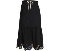 Scalloped embroidered cotton-poplin midi skirt