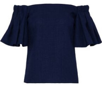 Off-the-shoulder ruffled woven top