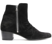 Ruched Suede Ankle Boots Black