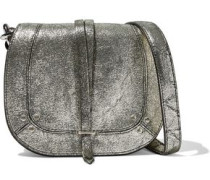 Victor metallic cracked-leather shoulder bag