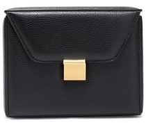 Woman Textured-leather Clutch Black