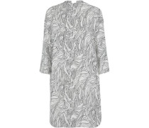 Draped Printed Cotton-poplin Dress Light Gray