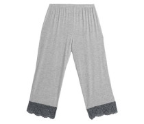 Lace-trimmed jersey pajama pants