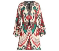 Embellished printed silk mini dress