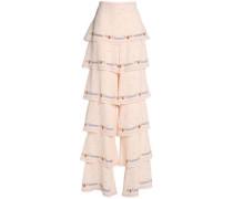 Printed tiered silk-crepe wide-leg pants