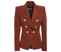 Double-breasted Wool-twill Blazer Brown