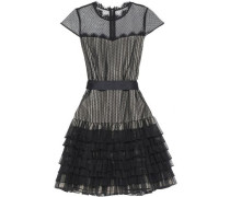 Lace-trimmed ruffled point d'esprit mini dress