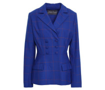 Double-breasted Checked Jacquard Blazer Royal Blue