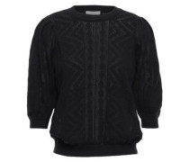 Chamora Pointelle-knit Cotton And Cashmere-blend Sweater Black