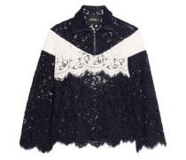 Color-block cotton-blend corded lace jacket