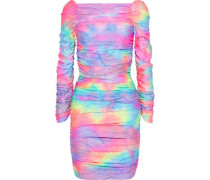 Woman Jolene Ruched Tie-dyed Stretch-twill Mini Dress Multicolor