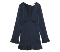 Pleated washed-silk playsuit