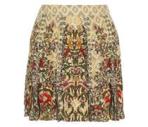 Sagat eyelet-embellished printed silk mini skirt