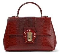 Lucia Lizard-effect Leather Tote Claret Size --
