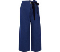 Velvet-trimmed frayed chambray wide-leg pants