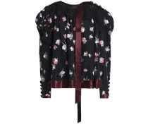 Crochet-trimmed floral-print satin top