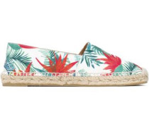 Printed Canvas Espadrilles White