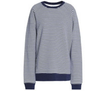 Distressed striped cotton-terry sweatshirt