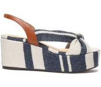 Woman Knotted Canvas Platform Sandals Navy