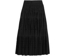 Laser-cut Cotton-blend Maxi Skirt Black