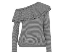 Off-the-shoulder ruffled striped wool and cashmere-blend top