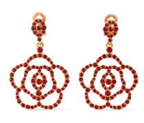 Gold-tone Crystal Clip Earrings Red Size --