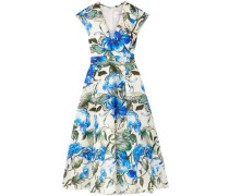 Floral-print Silk Crepe De Chine Midi Dress Ivory