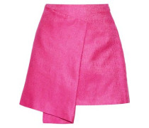 Wrap-effect cotton and silk-blend mini skirt