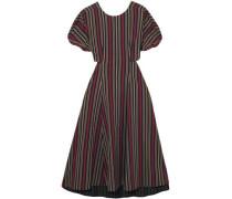 Open-back Striped Cotton-blend Midi Dress Navy