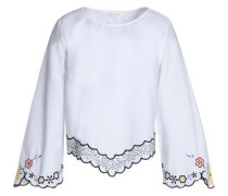 Scalloped embroidered cotton-poplin top