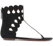 Laser-cut Suede Sandals Black