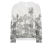 Woman Dreamscape Embroidered Tulle Blouse Ivory