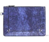 Metallic Cracked-leather Pouch Indigo Size --