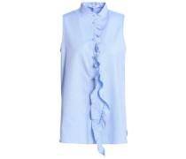 Ruffle-trimmed Cotton-poplin Top Light Blue Size 0