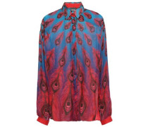 Woman Printed Silk-voile Blouse Blue