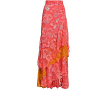 Ruched Metallic Lace Maxi Skirt Coral