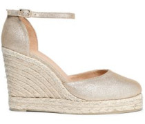 Metallic Leather Wedge Espadrille Sandals Sand