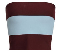 Cropped Striped Stretch-knit Top Burgundy