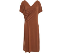 Woman Wrap-effect Draped Stretch-crepe Dress Light Brown