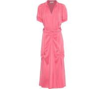 Woman Belted Ruched Silk Crepe De Chine Midi Dress Pink