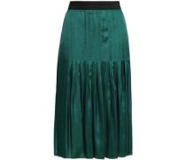 Pleated Satin-twill Skirt Emerald