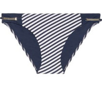 Sun Dappled Decadence low-rise embellished striped bikini briefs